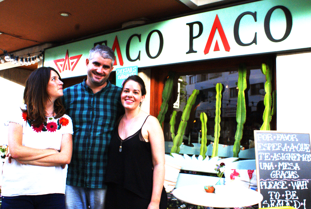 Clara Bonet with Taco Paco Ibiza owners.