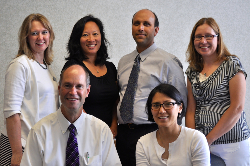 Front row: George Plain MD, Julie Yoon MD. Back Row: Pamela Damiani NP, Catherine Tan MD, Diego Cahn-Hidalgo MD, Bernedette Minnella MD