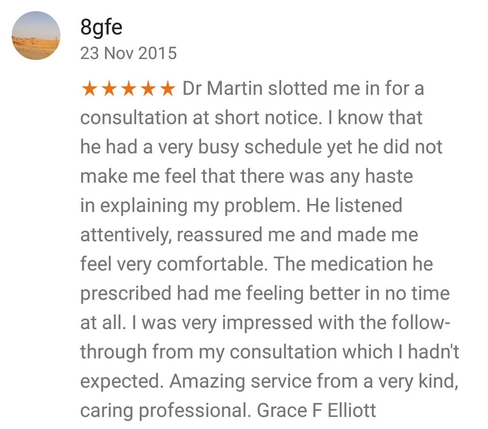 dr martin saweirs private gp doctor reviews testimonials