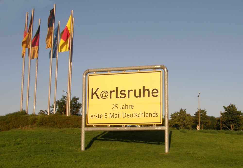 Karlsruhe, Germany was apparently the site of the first email from Germany to the US.  The @ symbol may be called an  Affenschwanz , or monkey's tail, in German. One day, maps will refer to this place as Kaffenschwanzruhe.  This image is from StromBer on Wikimedia Commons .