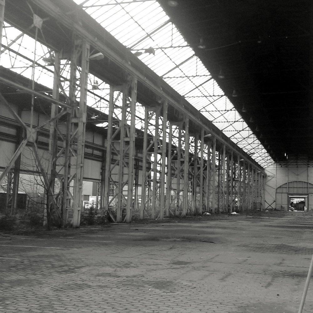 Just your requisite gloomy industrial warehouse in northwest Berlin.