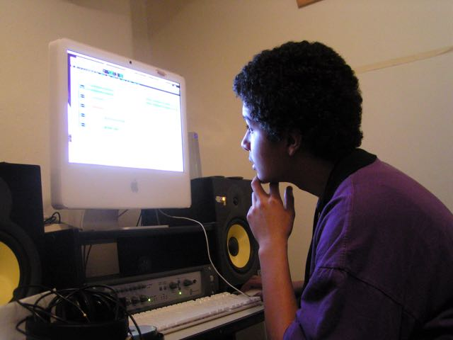 Jace Parks, 16, working with Pro Tools audio-editing software.