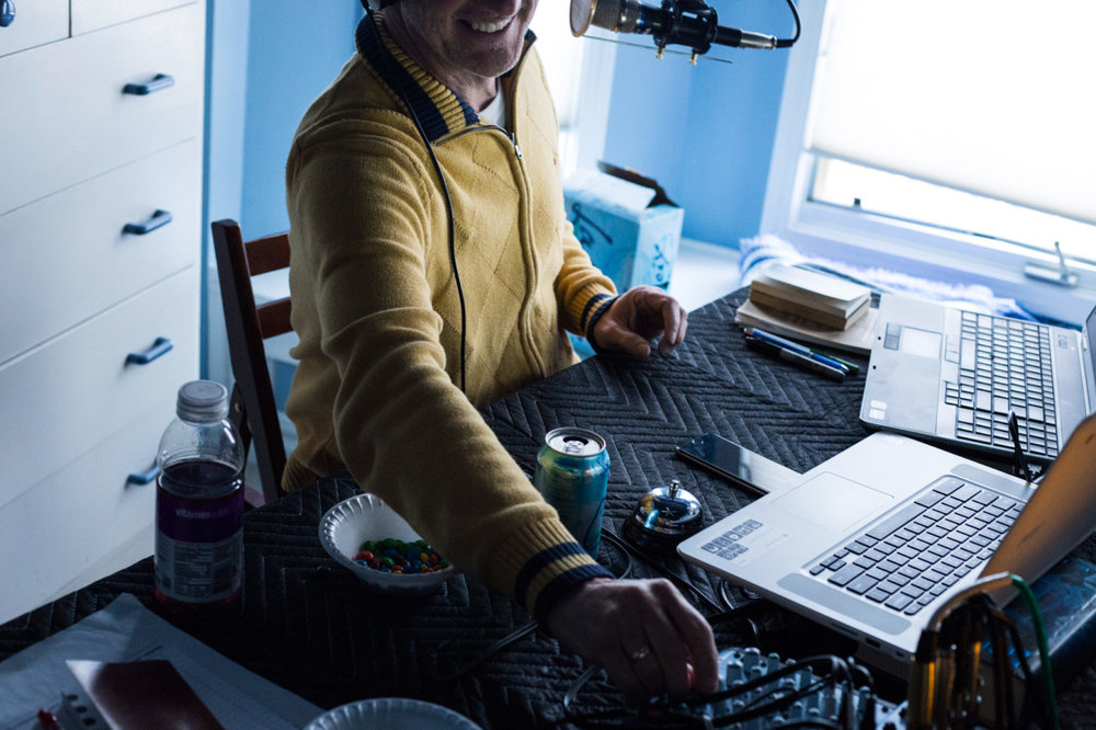 """Mark records the """"Recovered"""" podcast alongside his colleagues in his late son Andrew's bedroom on March 28, 2017. 