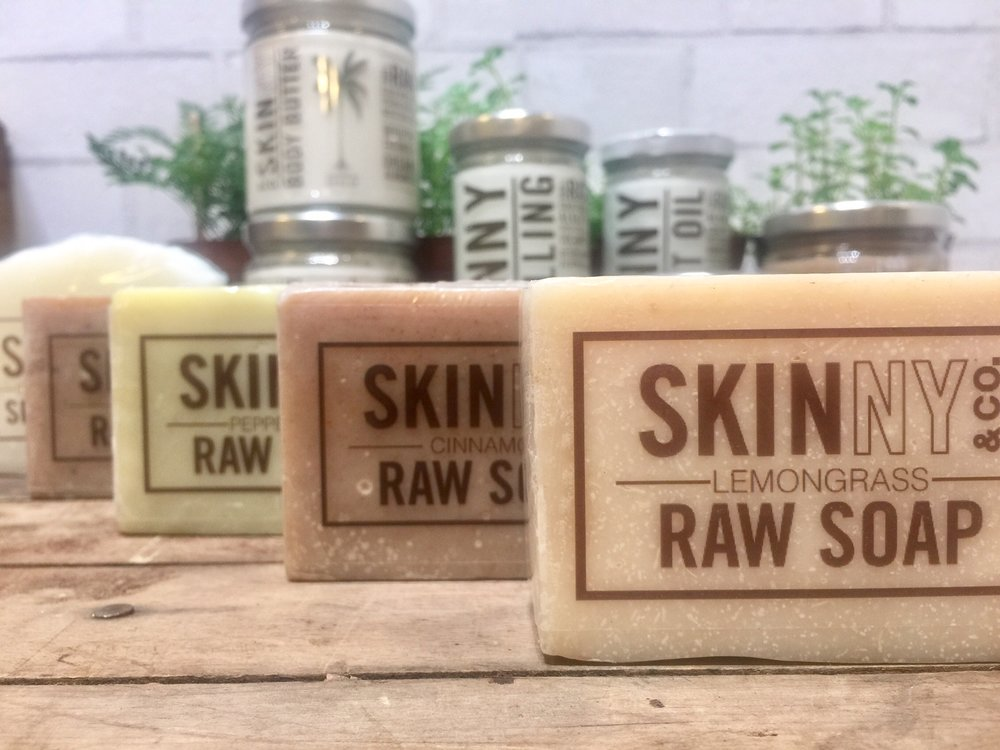 Coconut Oil Raw Soaps are antibacterial, smell amazing, and are perfect for hand + body.   We also carry a Shampoo Bar that's clarifying and soothing for dry scalp; and you won't have to fight with the TSA to take it on the airplane, since it's in a solid form, instead of a liquid.