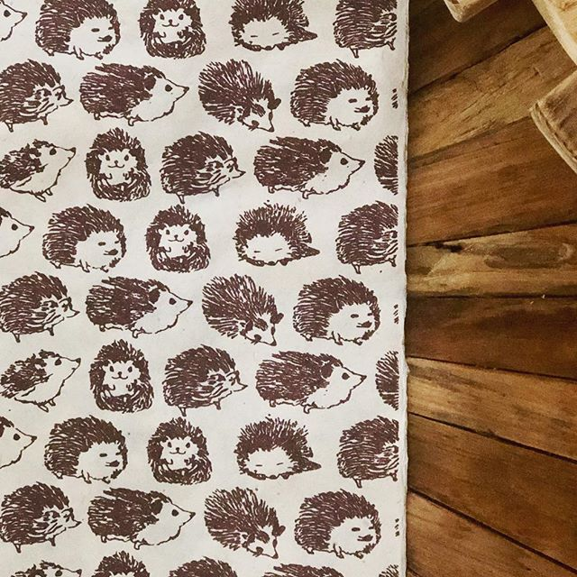 Because unwrapping the gift should be as fun as the gift itself!  Find this paper and equally cute ones at our @ridgedalecenter location... #hedgehogs #handmadepaper #details #giftwrap #woodland #mn #critters #gift