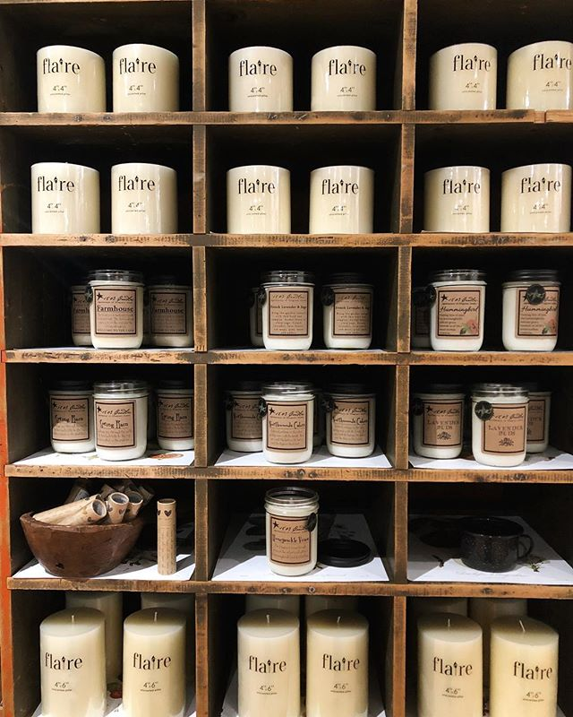 Spring candles are IN at both stores!  Welcome, Spring!! We've been waiting for you...🌱🌷🌿🌺 #springcandles #1803candles #allthesmells #rusticdisplay #woodcubby @southdalecenter @ridgedalecenter