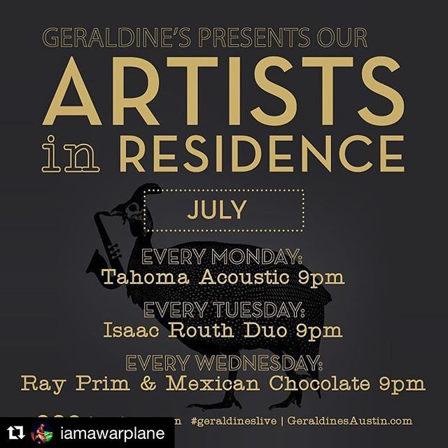 Be sure and catch Isaac and Aric every Tuesday in July at @geraldinesaustn while you grab a seat at the bar and tell the friend you brought how the entire place makes you feel like you should be discussing script ideas with Ari Gold and Vincent Chase.  #Repost @iamawarplane with @repostapp ・・・ I'm so excited to start my residency and to be a featured artist at @geraldinesaustn for the month of July!