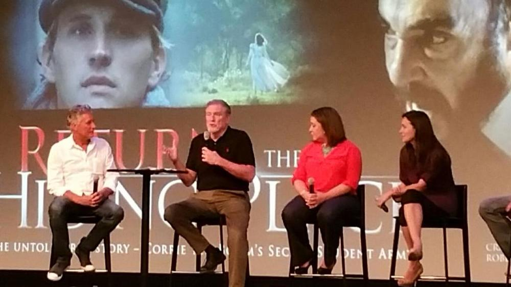 (L-R) Pastor David Manne, Dir. Peter Spencer, Prod. Petra Pearce, Actress Rachel Spencer Hewitt speak on a panel after screening  Return to the Hiding Place  at Calvary Chapel Costa Mesa.