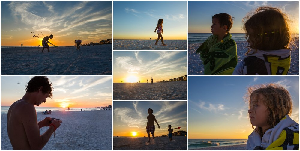 hollipoolphotography sunset, girl and boy on beach, shovel
