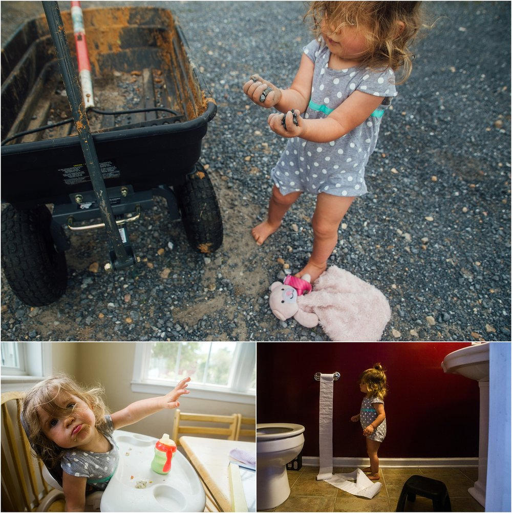 little girl, dirt, wagon, toilet paper