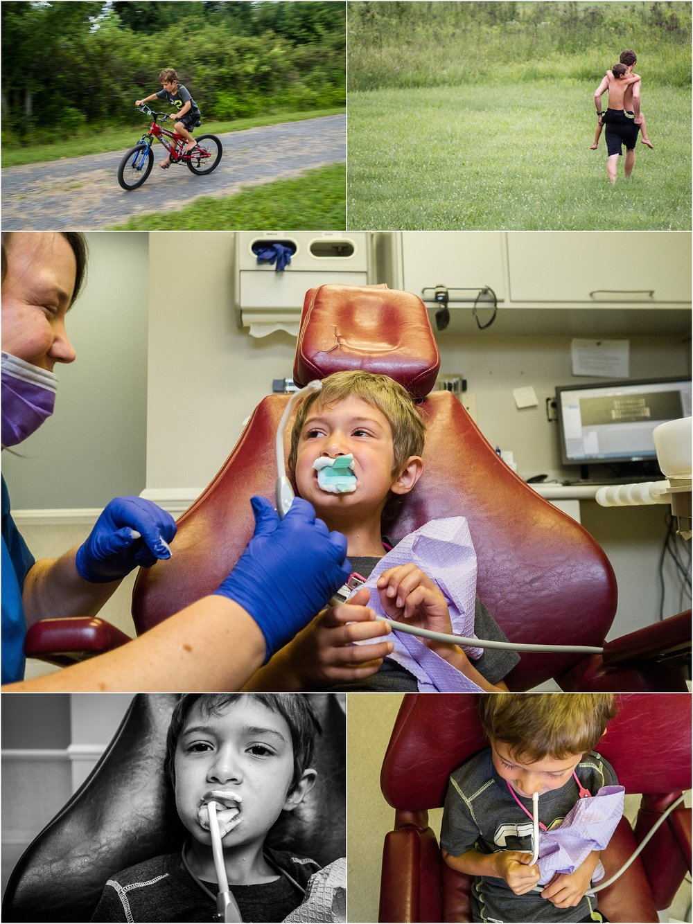 boy on bike and at dentist