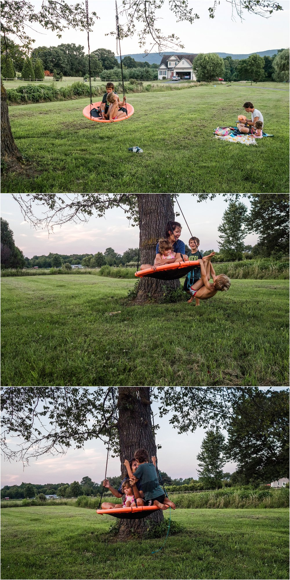 swing outside of home, family picnic