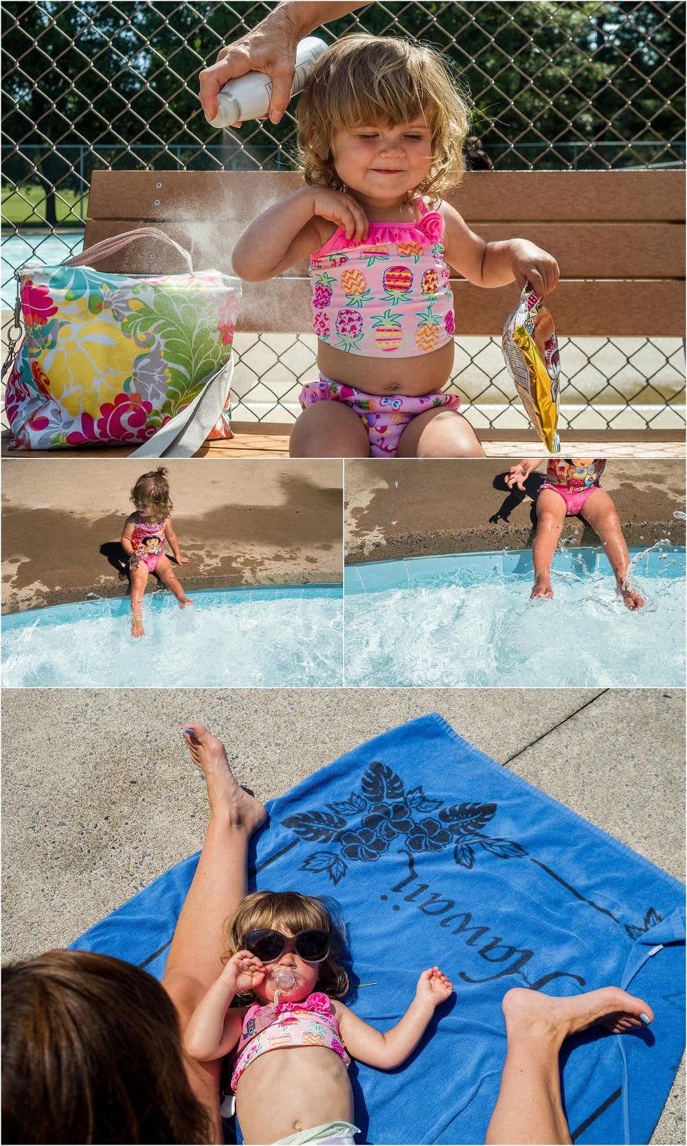 swimming pool, little girl in sunglasses