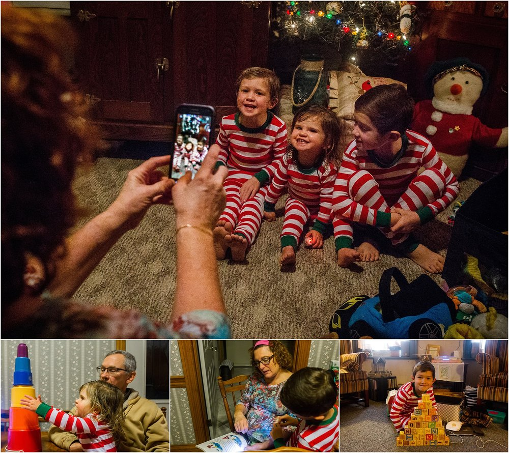 Grandma taking picture kids matching pajamas