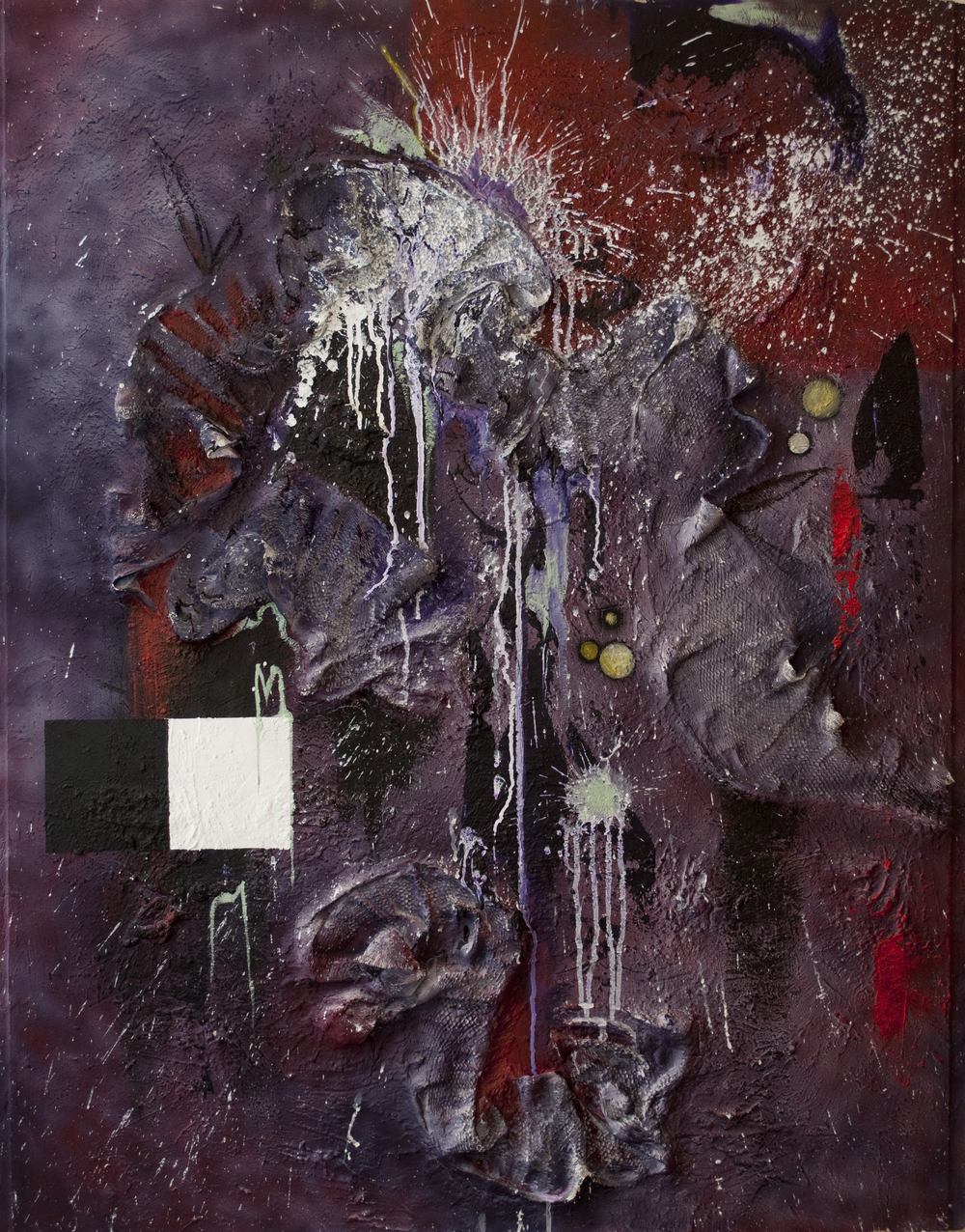 Purple    |    Acrylic, oil, and mixed media on Masonite board    |    39x49""
