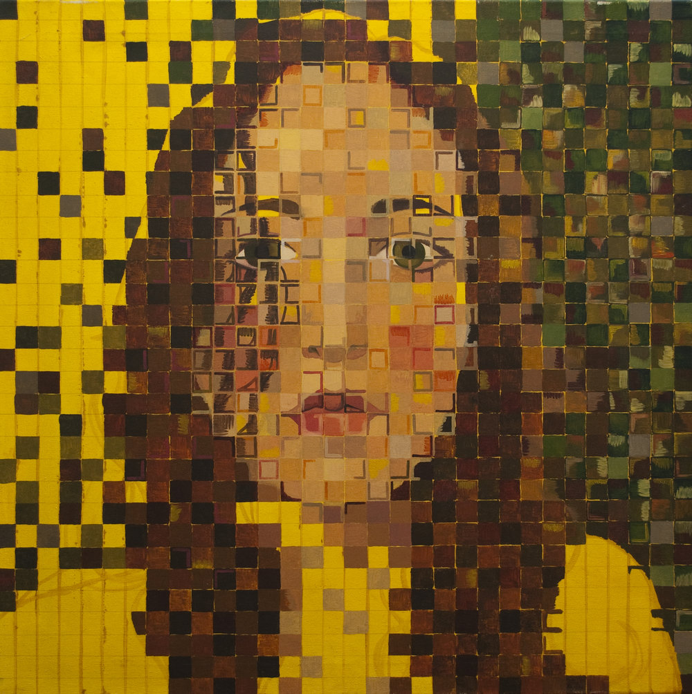 Self-Portrait in Pixels, 2007    |    Oil on canvas    |    48x48""