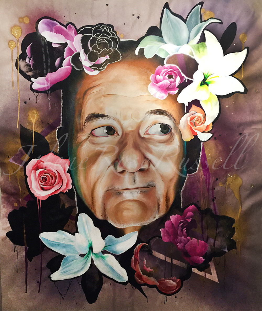 I Dream of Bill  |    Acrylic, oil, spray paint, & dry pastel on raw canvas    |    60x72""