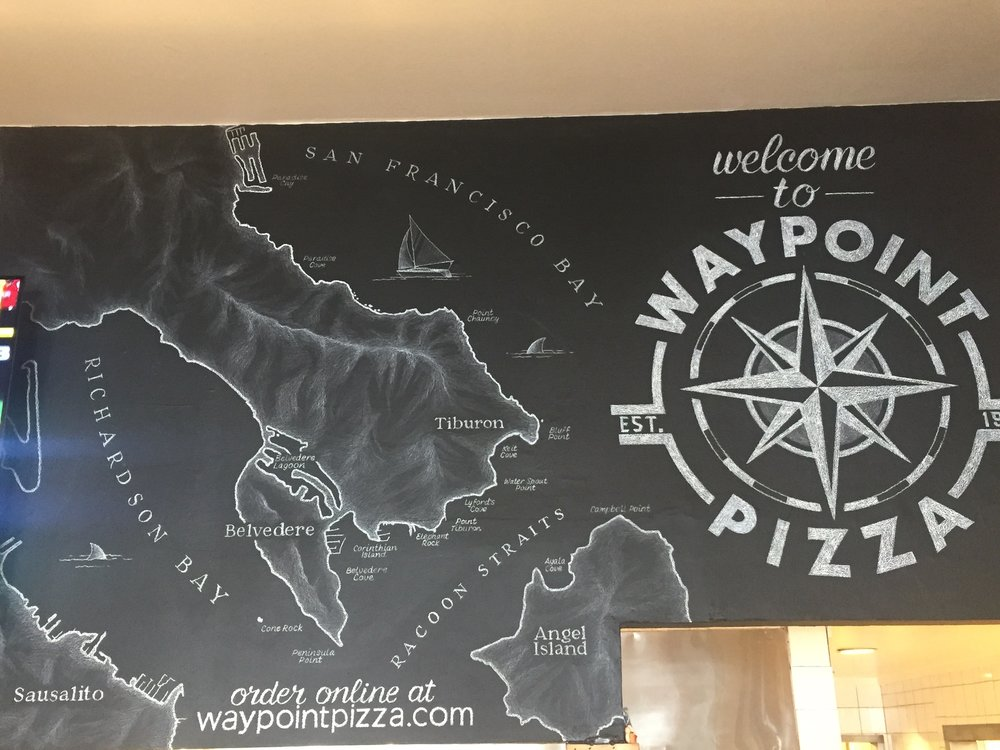 """Private art commission, """"Waypoint Pizza Mural"""", Sausalito CA"""