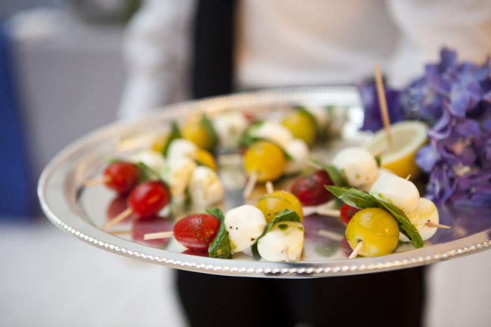 Buffalo Mozzarella and Cherry Tomato Skewers with a sweet balsamic drizzle