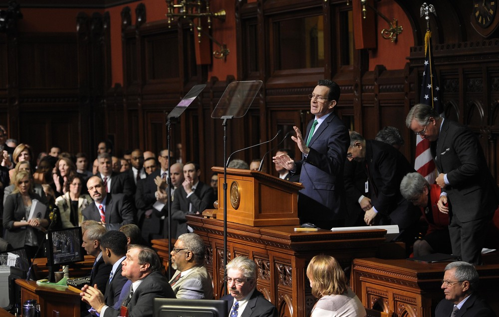 Connecticut Gov. Dannel P. Malloy delivers his budget address to the senate and house inside the Hall of the House at the State Capitol, Wednesday, Feb. 18, 2015, in Hartford, Conn. (AP)