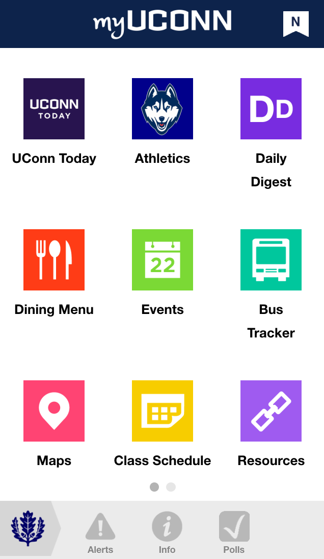 The myUConn app as it appears on a smartphone. (Screenshot)
