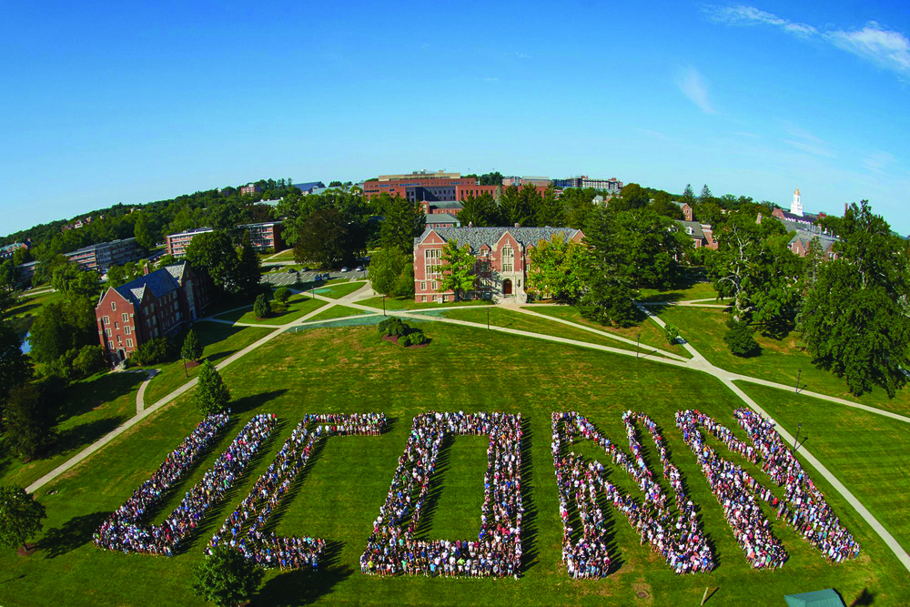 "The UConn Class of 2019 spells out ""UCONN"" on freshmen move-in day. (Peter Morenus/UConn Photo)"