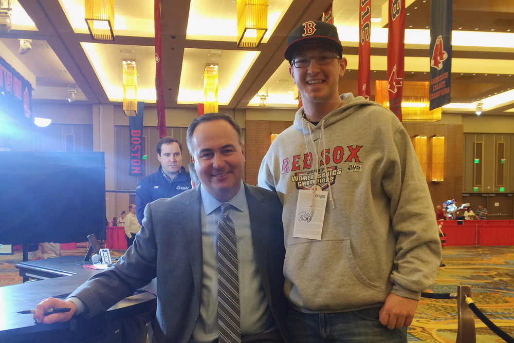 The author (right) stands with Red Sox broadcaster Don Orsillo, who did not have his contracted renewed by the New England Sports Network (NESN) , at Red Sox Winter Weekend at Foxwoods Resort Casino in January 2015. (Courtesy/Daniel Madigan)