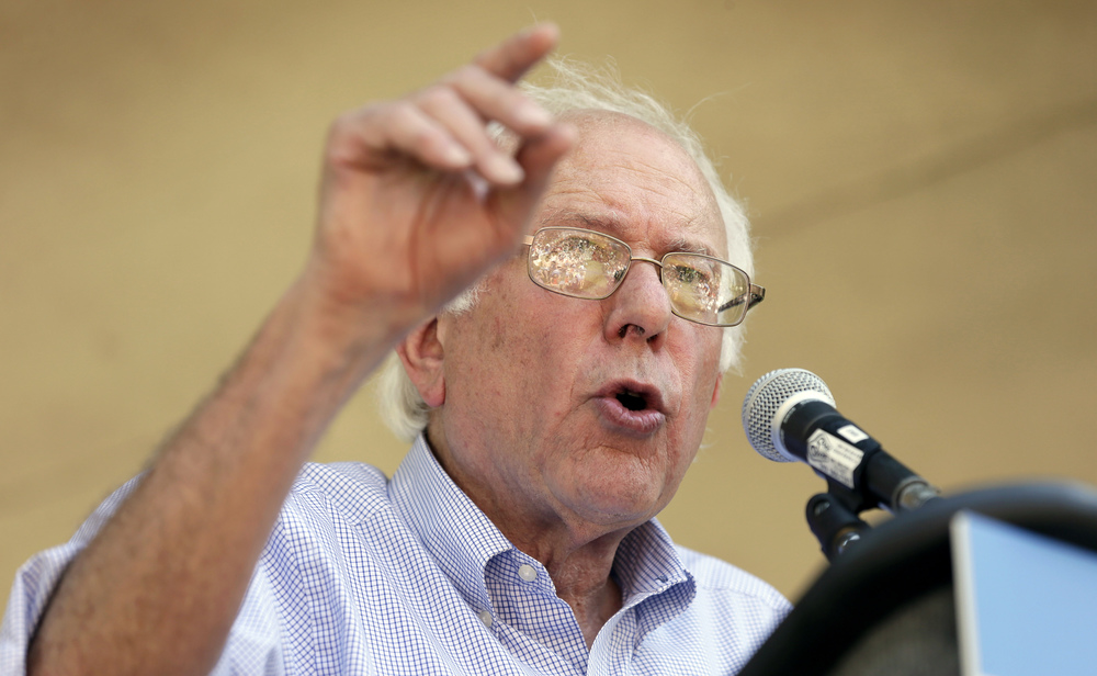 Democratic presidential candidate, Sen. Bernie Sanders, I-Vt., speaks during a town hall meeting, Thursday, Sept. 3, 2015, in Grinnell, Iowa. (Charlie Neibergall/AP)
