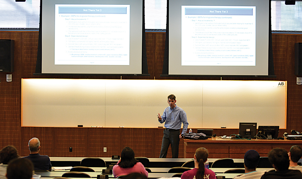 "Henning Gieseler, co-founder of GILYOS, a German pharmaceutical company, speaks at his lecture ""Freeze Drying of Pharmaceuticals: a Survey of Accomplished Research, Ongoing Projects and Future Outlook"" on Tuesday, Sept. 8, 2015. (Jason Jiang/The Daily Campus)"