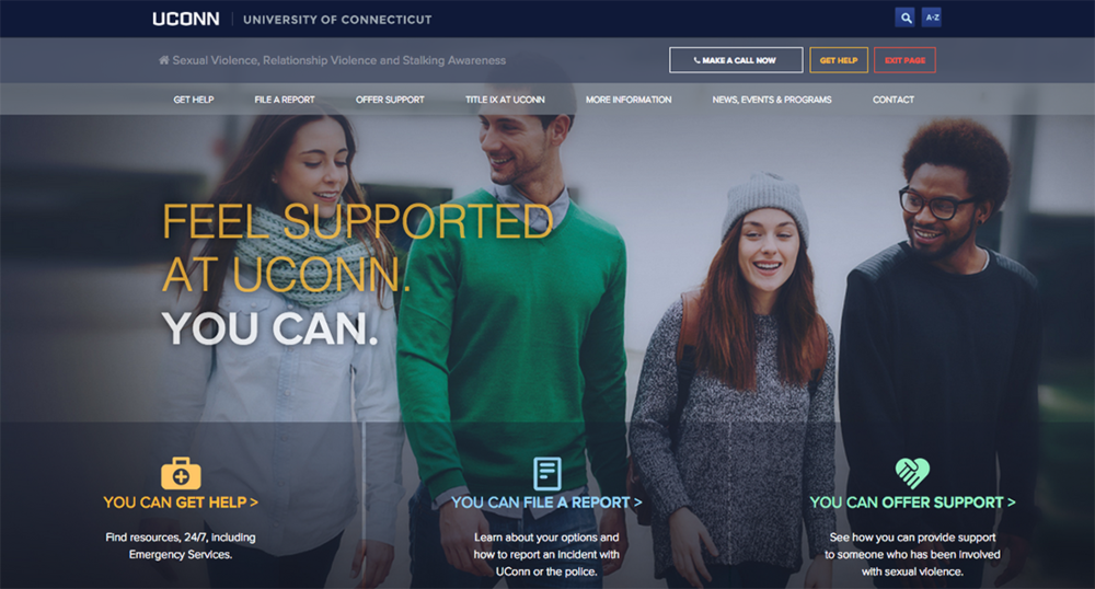 The website that was launched by the University of Connecticut Title IX team to further disseminate information about sexual violence, relationship violence and stalking awareness. (Screenshot/UConn)