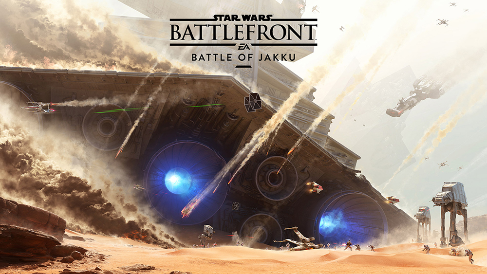 "A first glimpse of The Battle of Jakku, a scene from the ""Star Wars: Battlefront"" video game coming out in late-November  2015. (Courtesy/Electronic Arts)"