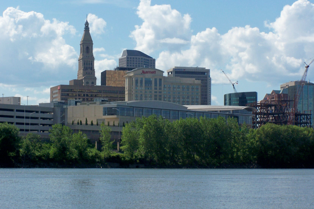 In this photo, the Hartford skyline is pictured. The city was ranked as the 45th-most dangerous in the United States by NeighborhoodScout. (J. Stephen Conn/Flickr)