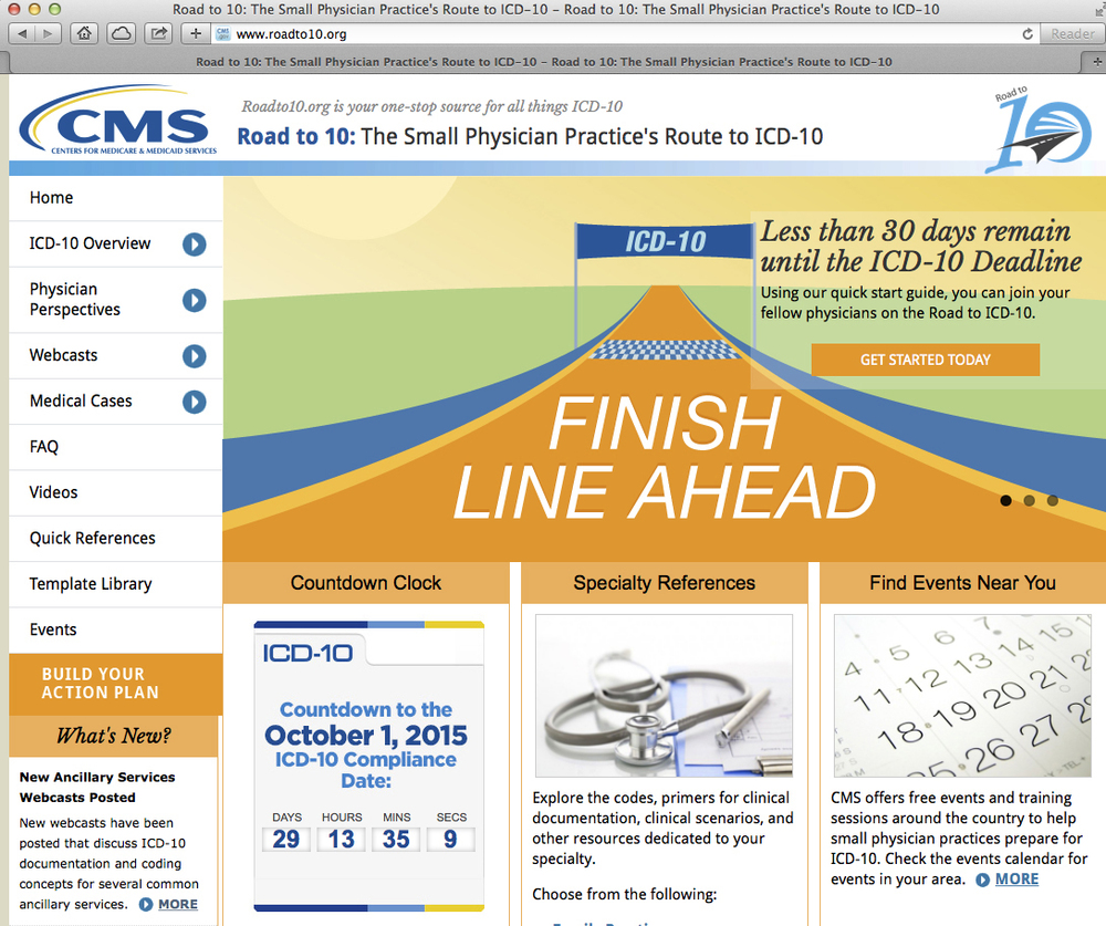 The webpage for the Centers for Medicare & Medicaid Services (CMS) showing the countdown at lower left, where new medical coding will go into effect on Oct. 1, is seen in Washington. (CMS via AP)