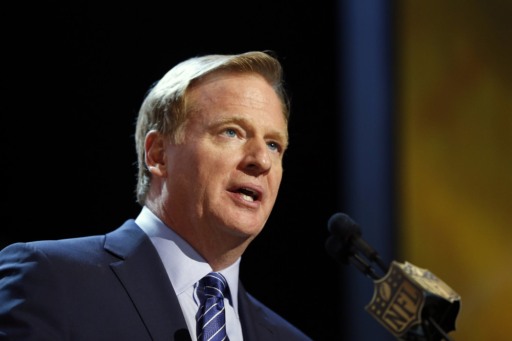 In this Thursday, April 30, 2015 file photo, NFL commissioner Roger Goodell speaks during the first round of the 2015 NFL Football Draft in Chicago. (Charles Rex Arbogast/AP)