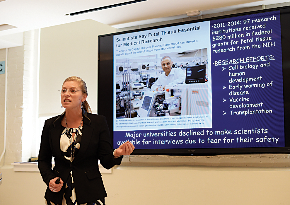 "UConn biology professor Colleen Spurling speaks during her lecture, ""What do you Study? Communicating STEM Concepts to a Broad Audience,"" on Sunday, Sept. 13, 2015. (Allan Lang/The Daily Campus)"
