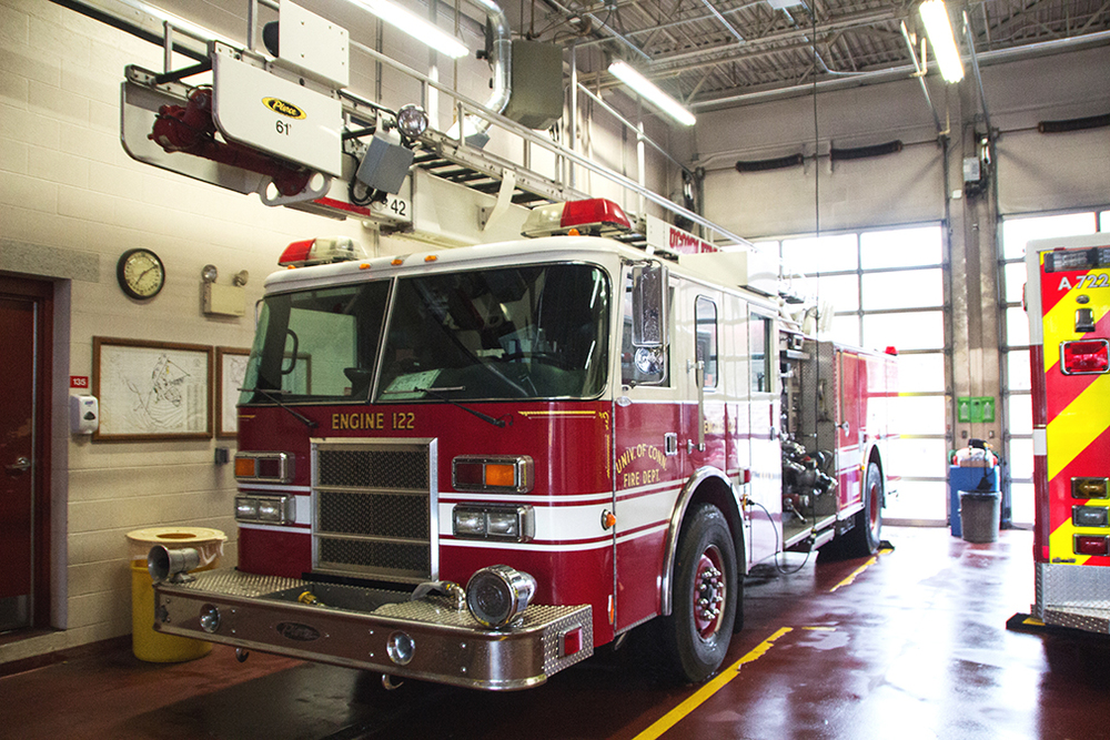 In this file photo, a UConn Fire Department ladder truck is pictured. The department celebrated its retirees at its third annual luncheon on Sunday. (File Photo/The Daily Campus)