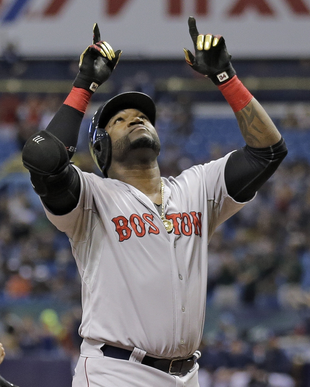 Boston Red Sox's David Ortiz reacts after hitting his 500th career home run off Tampa Bay Rays starting pitcher Matt Moore during the fifth inning of a baseball game Saturday, Sept. 12, 2015, in St. Petersburg, Fla. (Chris O'Meara/AP)