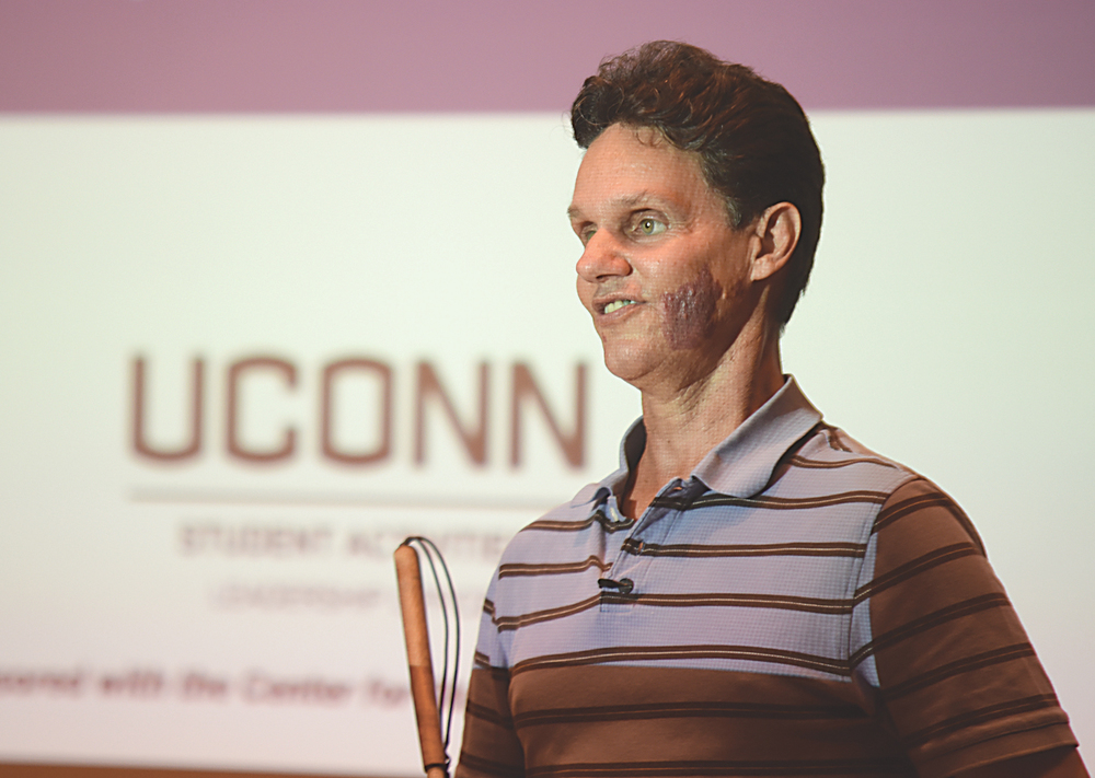 "Daniel Kish, president of World Access for the Blind speaks during ""Navigating the Unknown: Breaking Out of the Trap of Perceived Limitations"" at Konover Auditorium in Storrs, Connecticut on Monday, Sept. 14, 2015. (Allen Lang/The Daily Campus)"