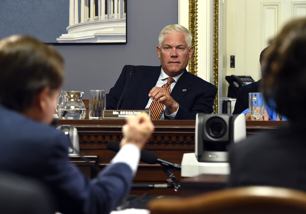 House Rules Committee Chairman Pete Sessions, R-Texas, listens as Chairman Rep. Ed Royce, left, R-Calif. speaks during a House Rules full committee meeting on the Iran nuclear program deal in Washington, Tuesday, Sept. 8, 2015. Sessions co-sponsored the Fair Campus Act, which was introduced in Congress in late July. (Molly Riley/AP)