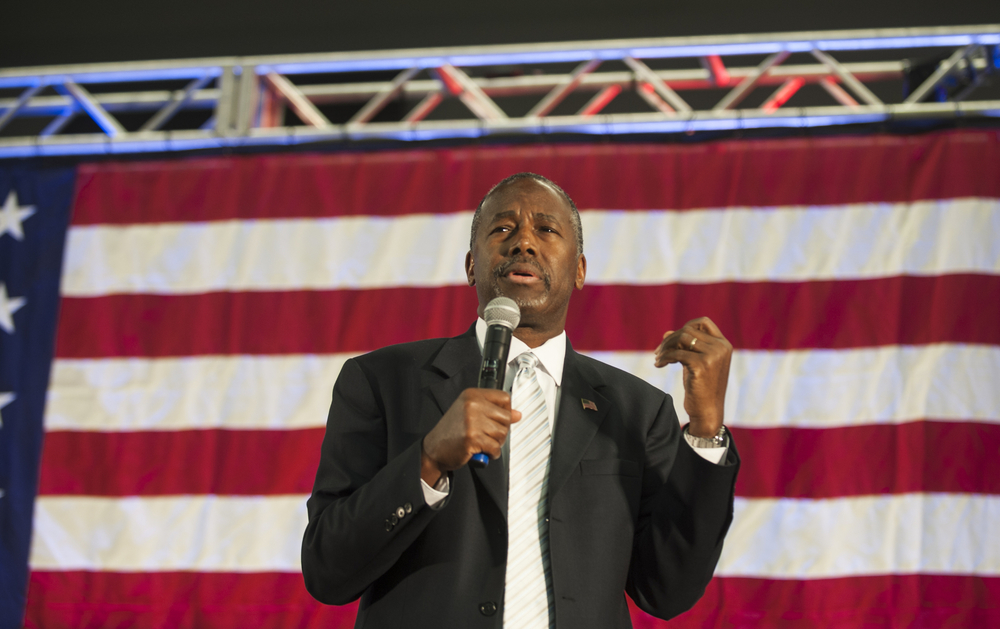 Republican presidential candidate Dr. Ben Carson speaks to the crowd during a campaign rally held at Spring Arbor University in Spring Arbor, Michigan, Wednesday, Sept. 23, 2015. (Jessica Christian/Jackson Citizen Patriot via AP)