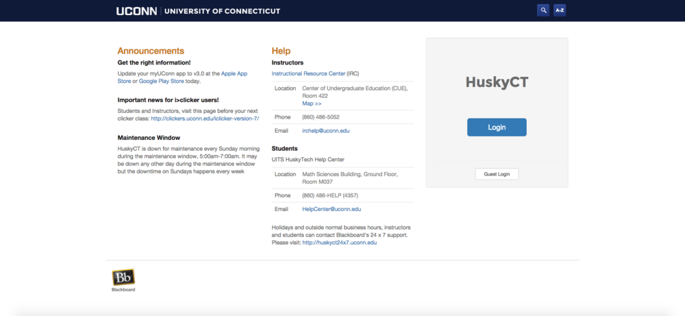 In this photo, a screenshot of the HuskyCT homepage is pictured. Students at UConn campuses across the state panicked Wednesday as HuskyCT crashed twice for a total of more than two hours, according to university officials. (Screenshot/The Daily Campus)