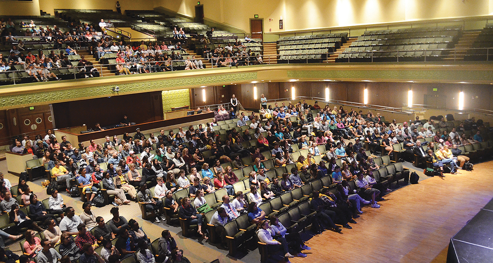 Audience members sit as Kevin Berthia and Kevin Briggs lead their event at the Jorgensen Center for the Performing Arts in Storrs, Connecticut on Wednesday, Sept. 23, 2015. (The Daily Campus)