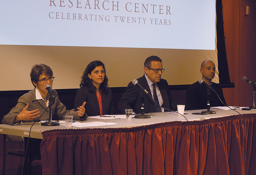 "Members of the Thomas J. Dodd Center's ""The University as Corporate Citizen"" event answer questions on Thursday, Sept. 24, 2015. Worker Rights Consortium Executive Director Scott Nova is second from the right. (Rebecca Newman/The Daily Campus)"