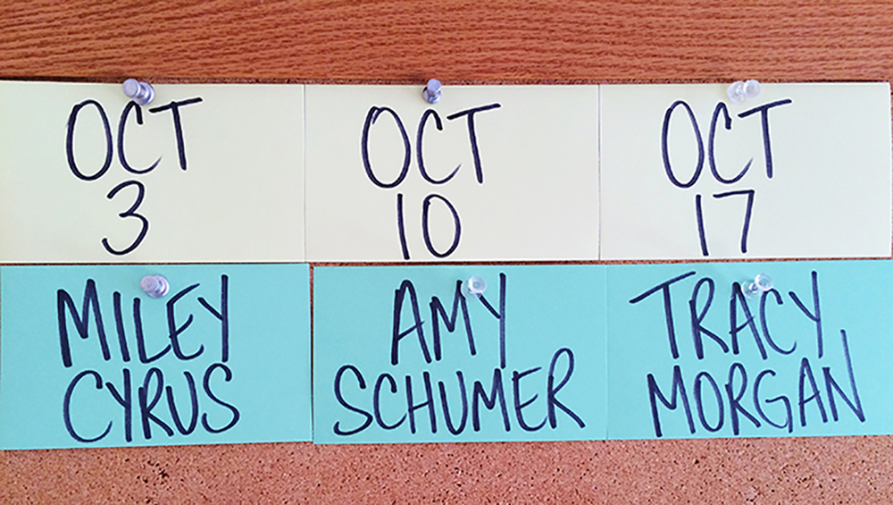 "The first three guests for the 41st season of ""SNL"" include Miley Cyrus, Amy Schumer, Tracy Morgan and musical guests to complement the actors (Courtesy/NBC)."