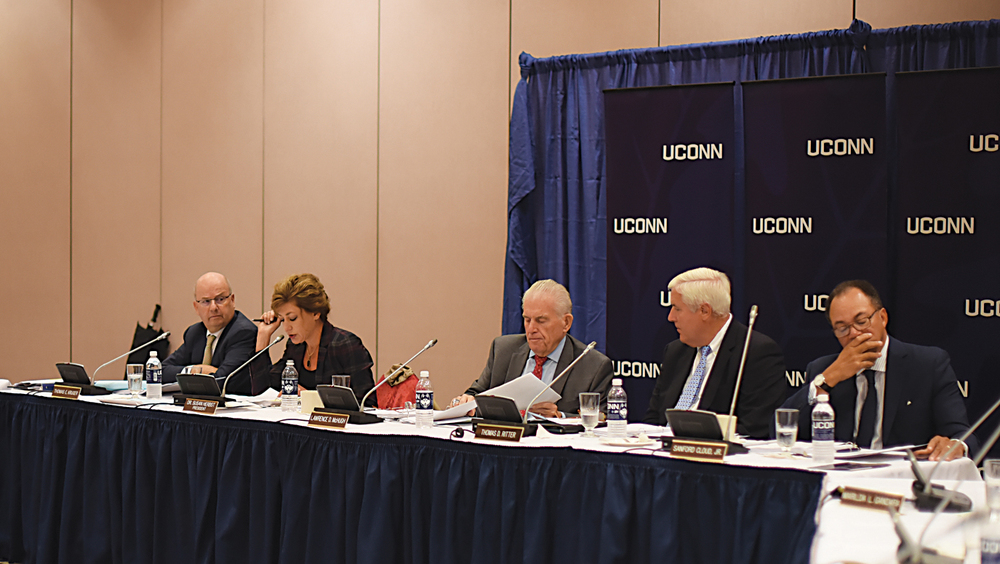 Members of the UConn Board of Trustees listen as university president Susan Herbst (second from left) speaks during the board's meeting on Wednesday, Sept. 30, 2015. (Allen Lang/The Daily Campus)