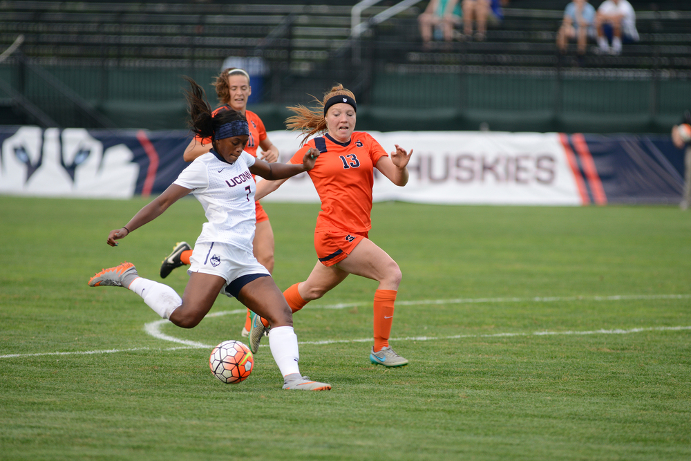 UConn senior forward Liana Hinds takes a shot during the Huskies' game against Syracuse at Joseph J. Morrone Stadium in Storrs, Connecticut. (Jason Jiang/The Daily Campus)