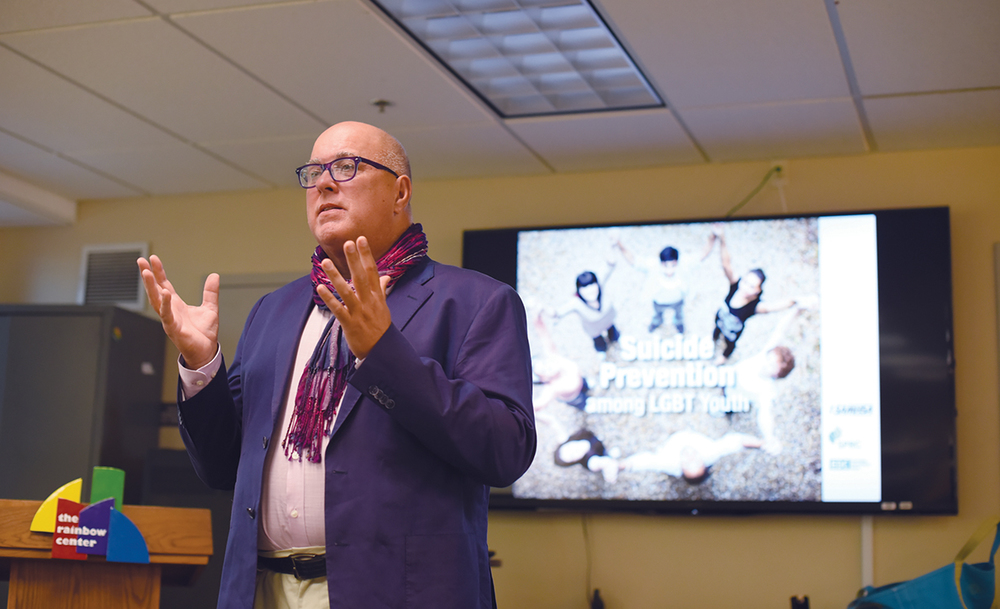 Psychologist Dr. Richard Stillson speaks during his lecture at UConn's Rainbow Center in the Student Union on Thursday, Oct. 1, 2015. (Allen Lang/The Daily Campus)