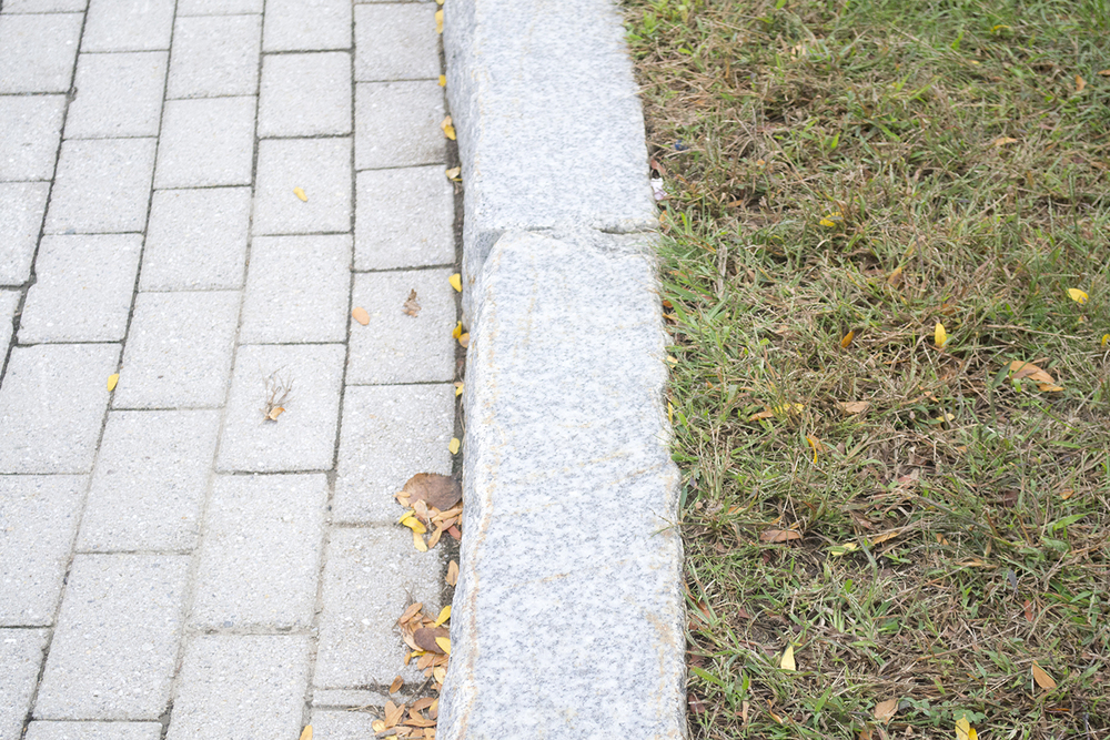In this photo, a granite curb is seen on the UConn campus. The university's granite curbs were installed between 1995 and 1996 as part of the UConn 2000 plan under President Harry J. Hartley. (Rebecca Newman/The Daily Campus)