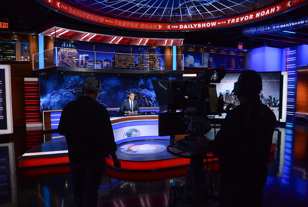 "Trevor Noah on set during a taping of ""The Daily Show with Trevor Noah"" on Tuesday, Sept. 29, 2015, in New York. (AP)"