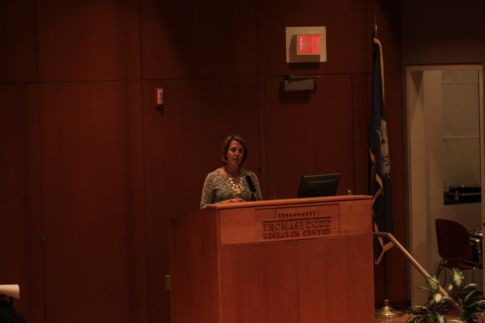 Jennifer Alexander, chief executive officer of the Connecticut Coalition for Achievement Now (ConnCAN), speaks during a presentation at UConn's Thomas J. Dodd Research Center on Monday, Oct. 5, 2015. (Mei Buzzell/The Daily Campus)